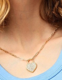 Fashion Golden Love Lock Necklace With Diamonds