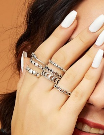 Fashion Silver Alloy Love Embossed Geometric Ring Set