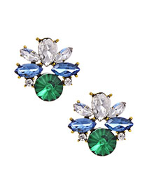 Fashion Green Alloy Stud Earrings With Diamonds