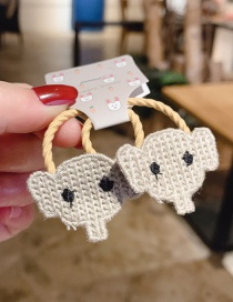 Fashion White 1 Pair Elephant Wool Knitted Children's Hair Rope
