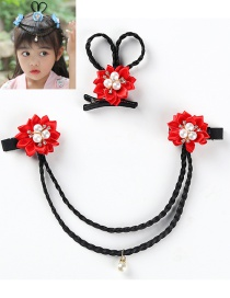 Fashion Red 2 Piece Set Pearl Woven Flower Wig Children's Hairpin Set With Diamonds
