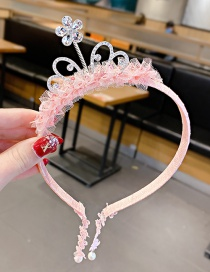 Fashion Pink Lace Rhinestone Crown Fake Earrings For Children