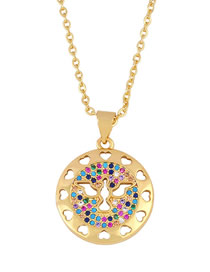 Fashion Golden Peace Dove Diamond Heart Carved Alloy Round Necklace
