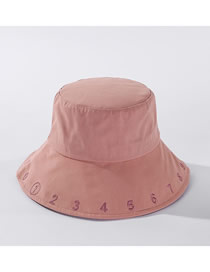 Fashion Light Pink Digital Embroidered Cotton Fisherman Hat