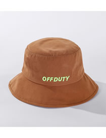 Fashion Caramel Colour Letter Embroidered Cotton Fisherman Hat