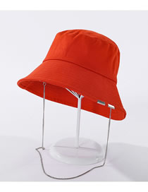 Fashion Orange Pure Color Metal Chain Cotton Fisherman Hat