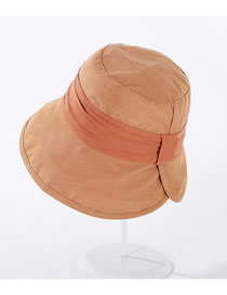 Fashion Khaki Wrinkled Patch Colorblock Wide-brimmed Fisherman Hat