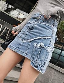 Fashion Blue Irregular Denim Skirt With Belt Stitching And Raw Edges