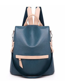 Fashion Blue Stitching Contrast Color Anti-theft Shoulder Backpack