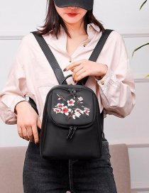 Fashion Black Plum Embroidered Waterproof Nylon Backpack