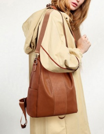 Fashion Brown Anti-theft Soft Leather Backpack