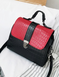 Fashion Red Stone Pattern Chain And Contrast Shoulder Bag