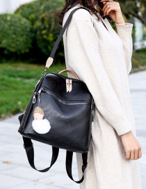 Fashion Black Soft Leather Anti-theft And Color Backpack