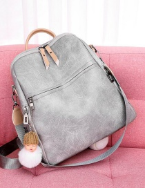 Fashion Light Grey Soft Leather Anti-theft And Color Backpack