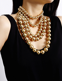 Fashion Golden Ball Geometric Beaded Metal Multilayer Necklace