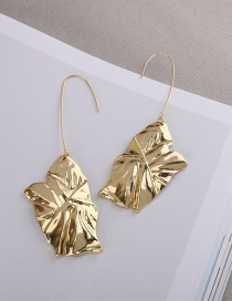 Fashion Golden Alloy Leaf Irregular Bump Face Earrings