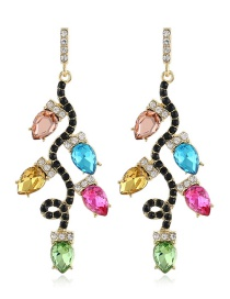 Fashion Color Geometric Drop Earrings In Alloy With Gems