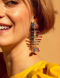 Fashion Color Fishbone Alloy Pierced Earrings With Color Diamonds