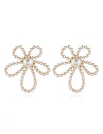Fashion White Pearl Flower Hollow Alloy Earrings