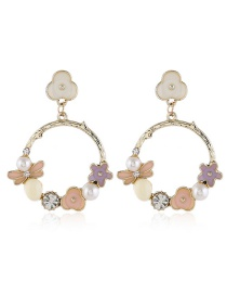 Fashion Color Pearl Acrylic Flower Pierced Earrings With Diamonds
