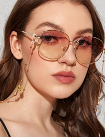 Fashion Yellow Rainbow Daisy Halter Metal Sunglasses Snow Chain