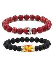 Fashion Red + Black Micro-set Zircon Small Crown Frosted Emperor Stone Bracelet Set