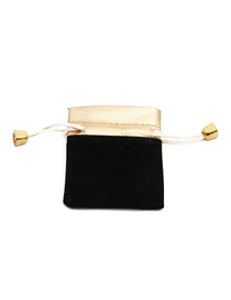 Fashion Black + Gold Hand-embellished Velvet Contrast Stitching Drawstring Jewelry Bag