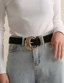 Fashion Black Pu Leather Alloy Belt Buckle Geometric Embossed Belt