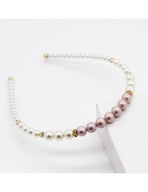 Fashion Purple Pearl Alloy Contrast Color Thin-edged Hair Hoop