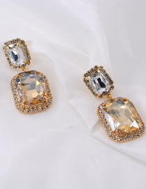 Fashion Yellow Beveled Baguette Faceted Earrings