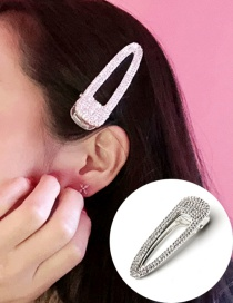 Fashion Silver One Geometric Triangle Hollow Alloy Duckbill Clip With Diamonds