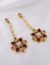 Fashion Red Crystal Pearl And Diamond Flower Alloy Earrings