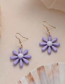 Fashion Purple Flower Geometric Acrylic Alloy Earrings