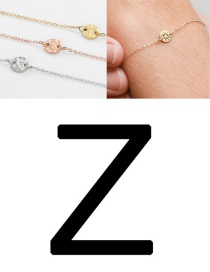 Fashion Golden-z (6mm) Bump Stainless Steel Engraved Geometric Round Bracelet