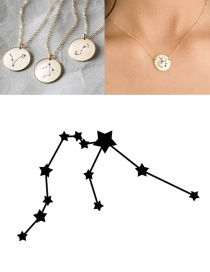 Fashion Golden-aquarius (13mm) Stainless Steel Geometric Round Engraved Constellation Necklace