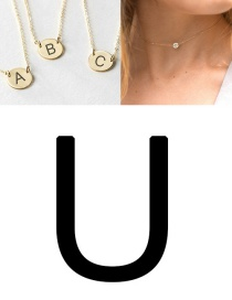 Fashion Rose Gold-u (6mm) Short Geometric Round Engraved Titanium Steel Necklace