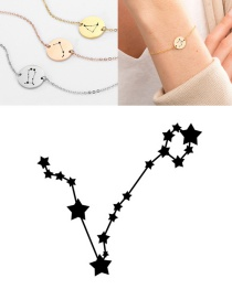 Fashion Steel Color-pisces (13mm) Round Stainless Steel Gilt Engraved Constellation Bracelet