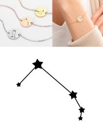 Fashion Golden-aries (13mm) Round Stainless Steel Gilt Engraved Constellation Bracelet