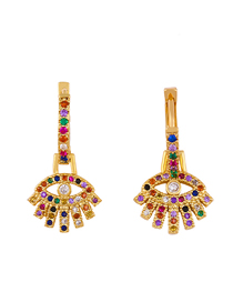 Fashion Golden Alloy Earrings With Colored Gemstones