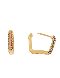 Fashion Golden Geometric Square Inlaid Colored Zircon Earrings