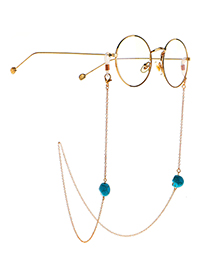 Fashion Golden Color-fast And Easy To Fade Cross Turquoise Glasses Chain