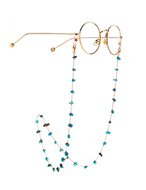 Fashion Golden Natural Malformed Turquoise Beads Handmade Glasses Chain