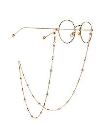 Fashion Golden Copper Beads Pearl Peach Heart Glasses Chain