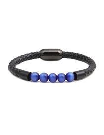Fashion Blue 8mm Opal Beaded Stainless Steel Magnetic Buckle Leather Bracelet