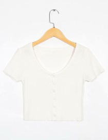 Fashion White Single-breasted Short Sleeve T-shirt