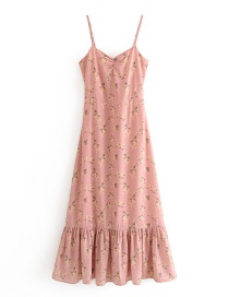 Fashion Photo Color Floral Print Pleated Camisole Dress