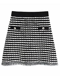 Fashion Photo Color Knit Fringed Check Skirt