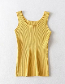 Fashion Bright Yellow Round Neck Threaded Camisole