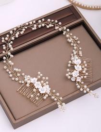 Fashion White Pearl Flower Comb