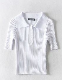 Fashion White Polo Collar Short Knit T-shirt
